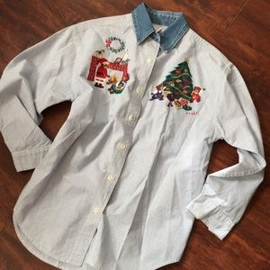 VINTAGE BEAR PINSTRIPE DENIM COLLAR BUTTON DOWN